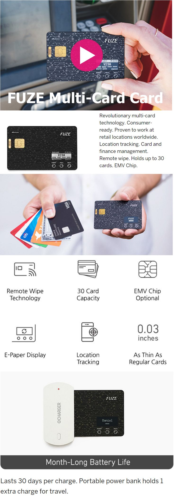 Fuze Card: Your Whole Wallet in One Card. Secure, Slim, Convenient. Electronic Card with EMV Chip. Holds Up to 30 Credit, Debit, or Gift Cards.