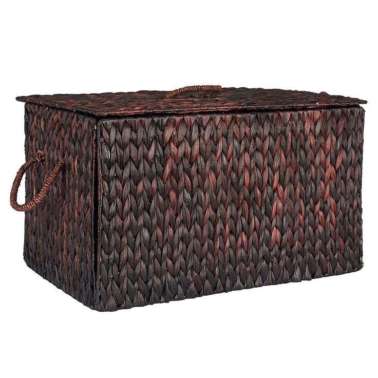 Household Essentials Spring Wicker Storage Trunk, Brown