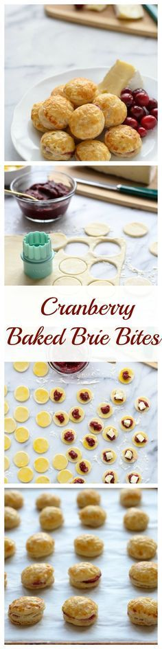 Cranberry Baked Brie Puff Pastry Bites. Like mini baked brie!