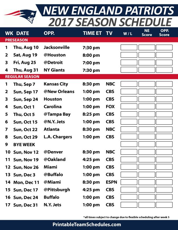 New England Patriots Football Schedule 2017