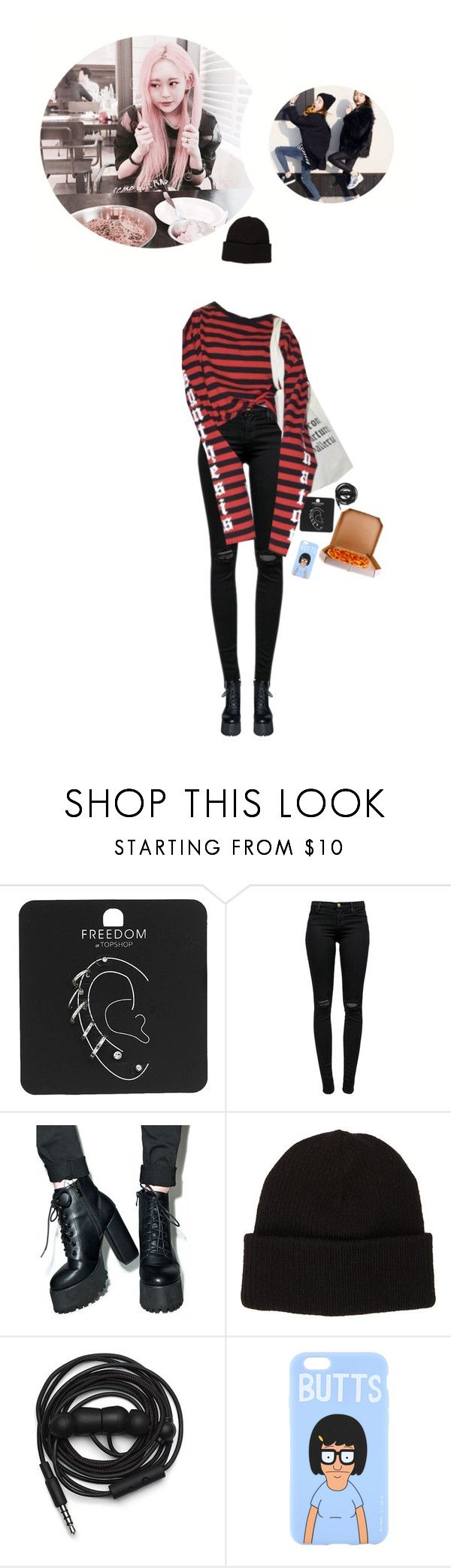 """""""Mingi: Pizza with Jia-unnie"""" by gg-hx ❤ liked on Polyvore featuring Topshop, J Brand, Current Mood, CA4LA and Urbanears"""