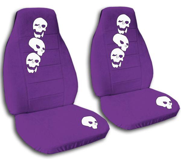 purple seat covers | Skulls Purple Velvet Seat Cover