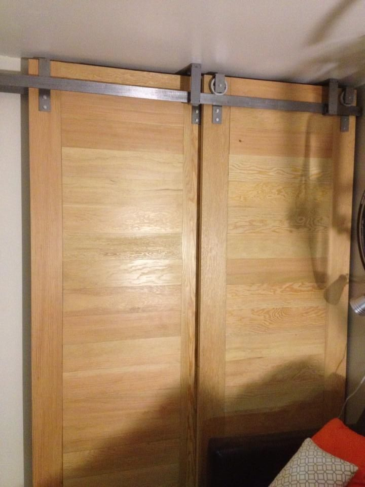 Ceiling mounted bypass sliding doors by goatgear for Hanging a sliding barn door