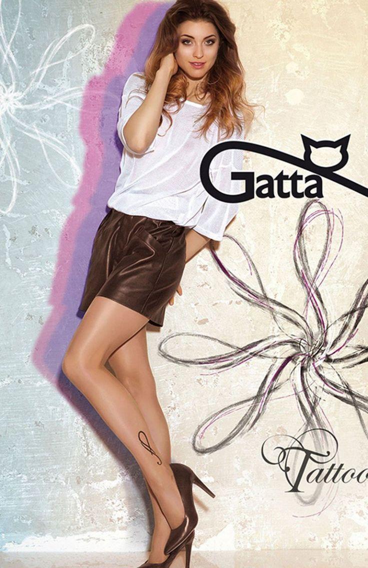 Gatta Tattoo 23 rajstopy Gładkie rajstopy, ozdobione finezyjnym tatuażem na wysokości kostki, wykonane z przędzy typu elastan oplatany, miękkie i elastyczne