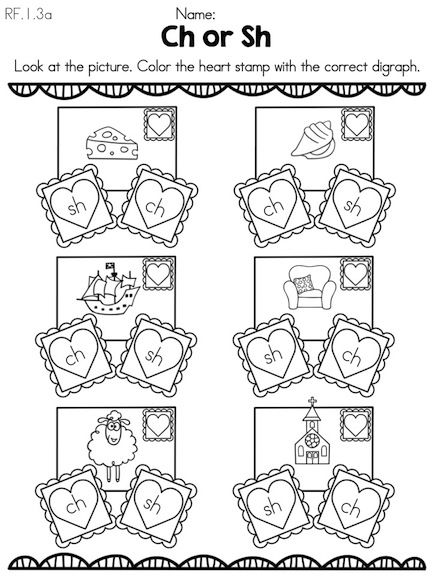 Ch or Sh Valentine Stamps >> Color the digraph to match the picture >> Part of the Valentine's Day Kindergarten Literacy Worksheets