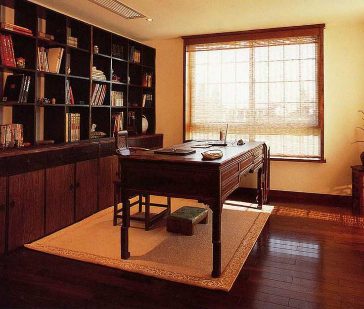 Traditional Study Room: Oriental Chinese Interior Design Asian Inspired Study Room