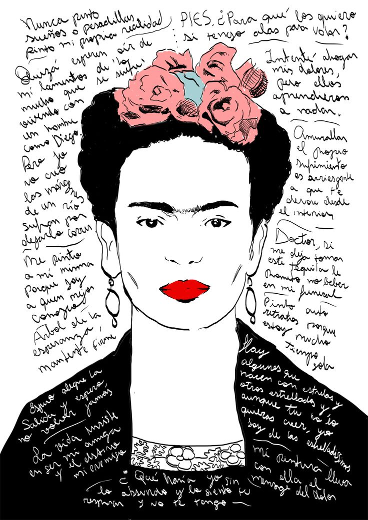 Frida Kahlo Quotes. (Digital illustration)