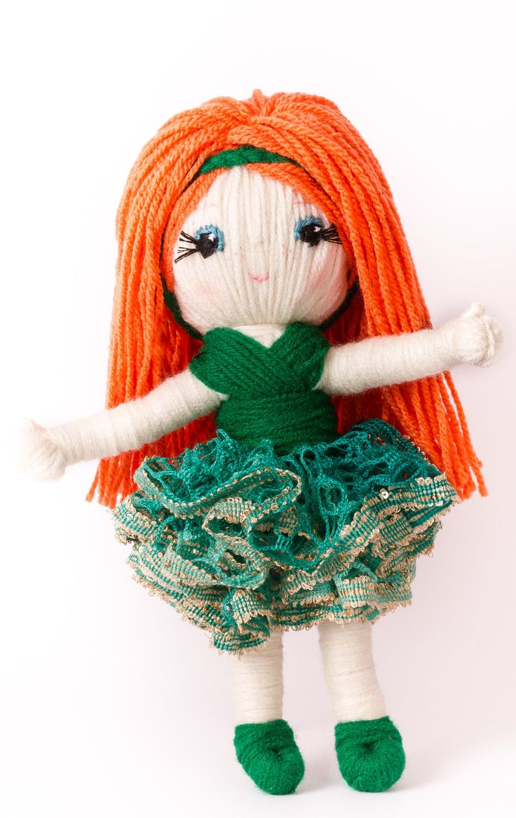 "Easy to make yarn doll Celtic Princess ""Trembling"" from ""Yarn Whirled: Fairy Tales, Fables, and Folklore""."