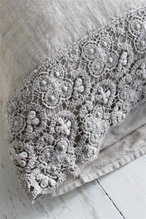linen and lace pillow slip