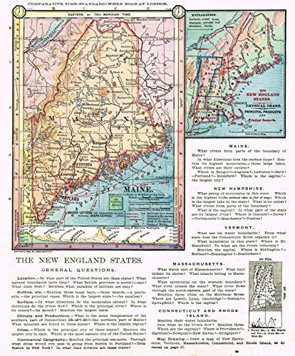 """From """"COMPLETE GEOGRAPHY"""" by James Monteith in 1875. Engraved by American Book Company in New York. Fine chromolithograph map. This unframed and unmounted map is in very good condition. There is minim"""