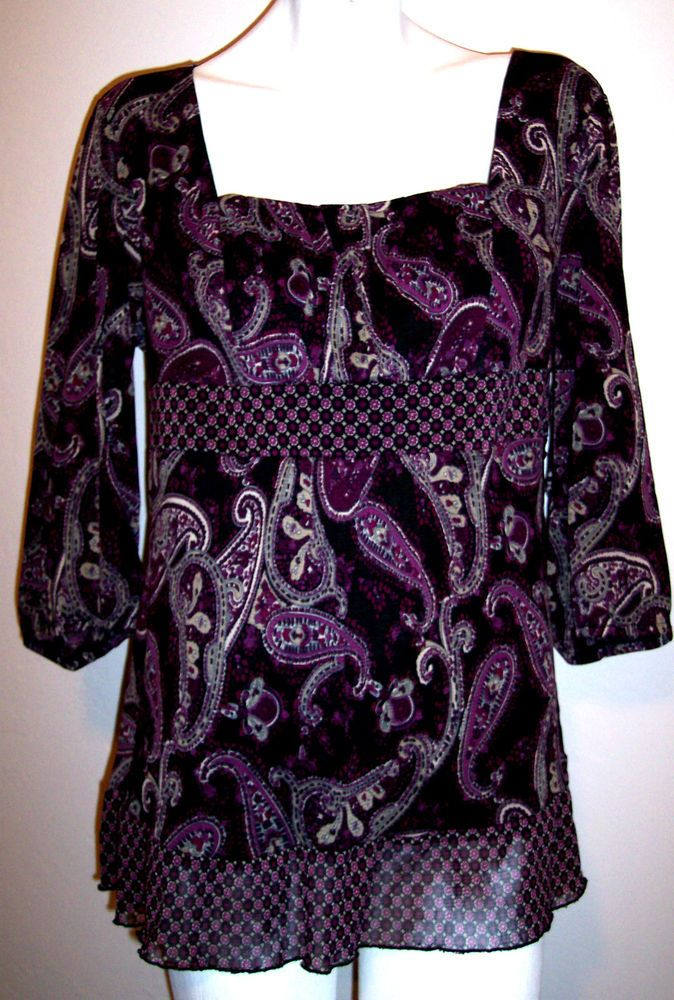 Constance Marie Top XL Purple Paisley Stretch Knit Hippie Peasant Shirt Blouse #ConstanceMarie #KnitTop #Casual
