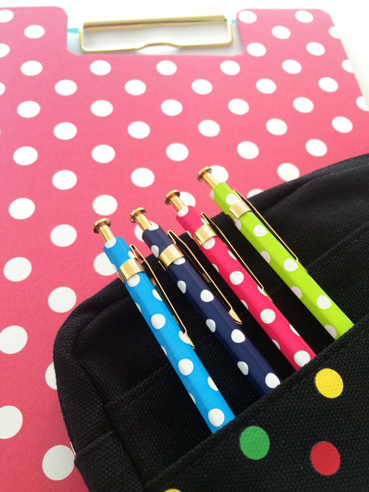 Dots on dots // Delphonics Utility Pouch and Pens // Mark'sphere Clip Board