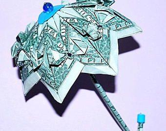 Umbrella - money umbrella - money origami - origami umbrella - graduation gift - money gift - dollar umbrella - novelty gift