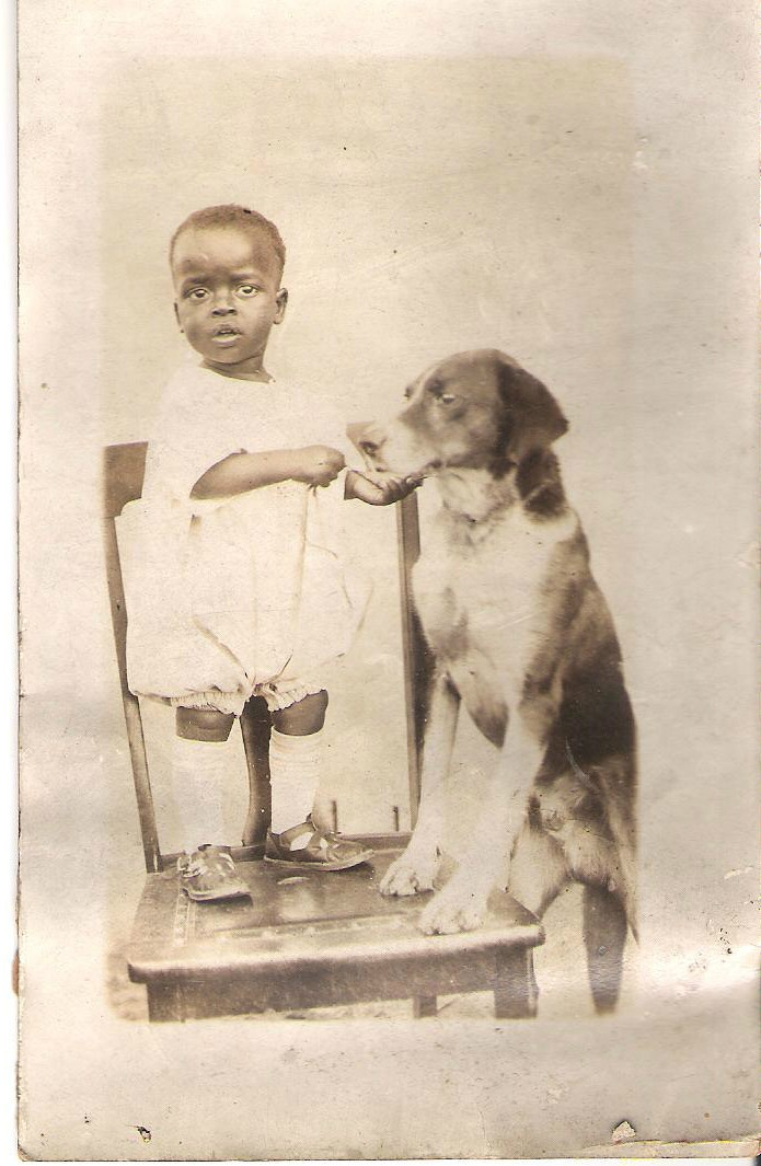 Vtg Antique African American Real Photo Postcard Black Baby & Hound Dog RPPC
