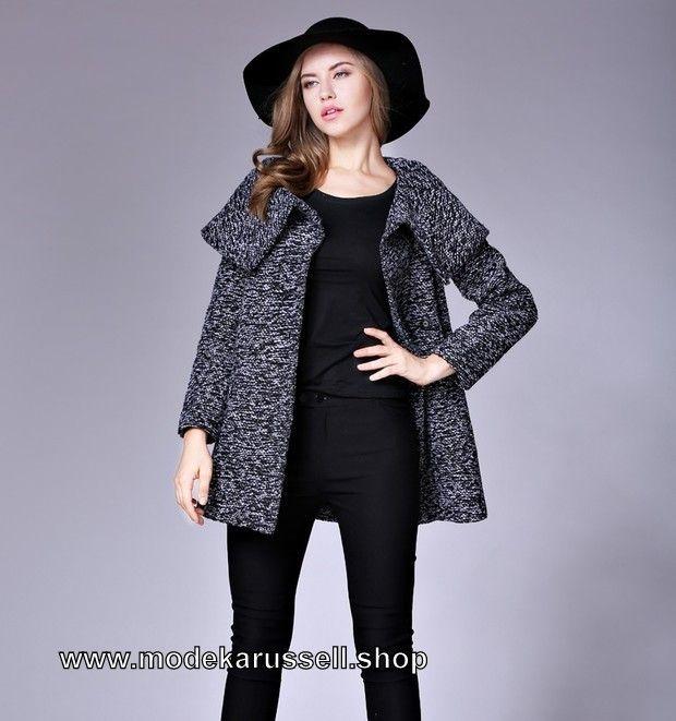 Damen Strickjacke Cardigan aus Wolle Grau