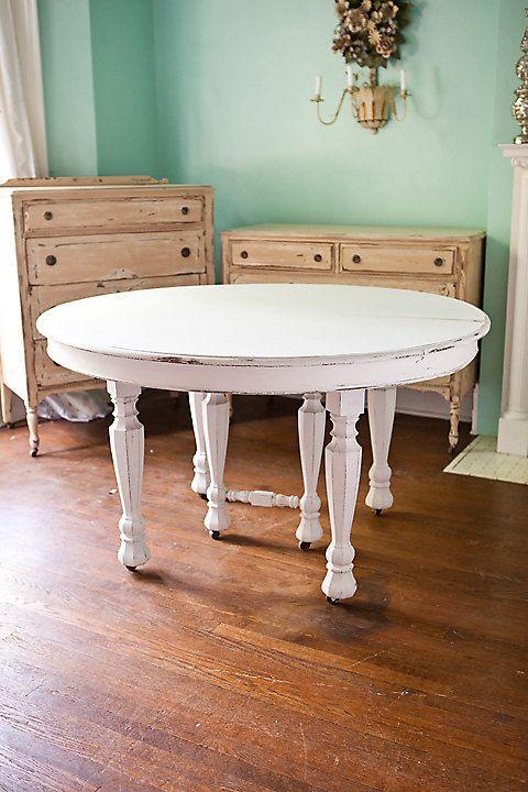 Antique Dining Table Shabby Chic White Distressed Kitchen Round Cottage Prairie Vintage