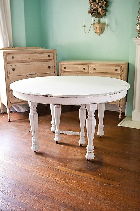 Antique dining table shabby chic white distressed kitchen for Distressed white dining table