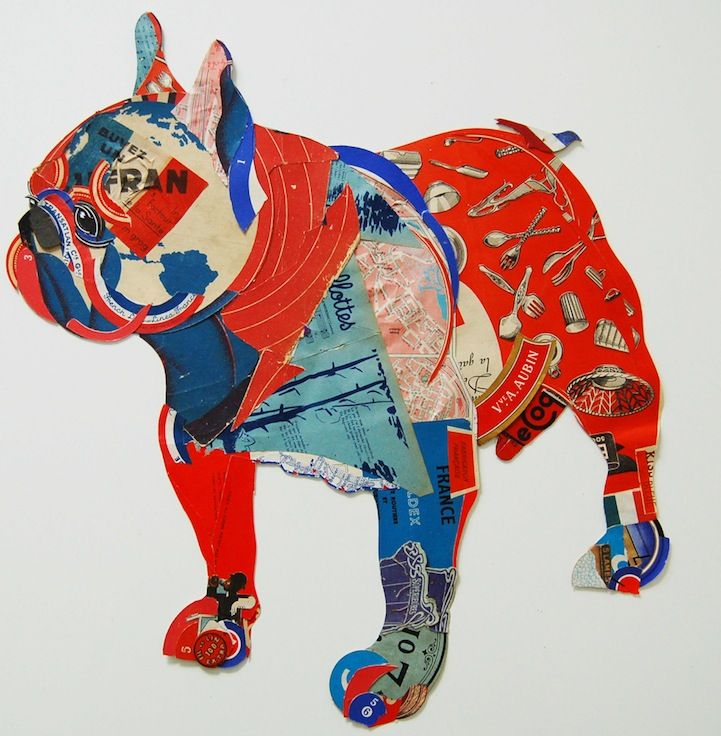 Paper bulldog by Peter Clark: Fashion Crafts, Animal Art, Clarks Collage, Amazing Dogs, Peter O'Tool, Dogs Art, Dogs Collage, Peter Clarks, Artists Peter