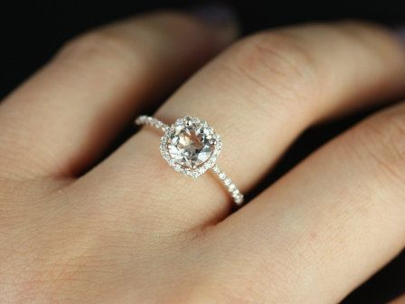 Barra Petite 14kt Rose Gold Morganite Cushion Halo Engagement Ring