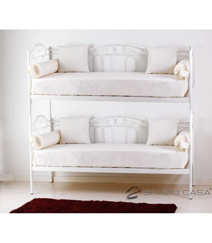 Divano letto a castello in ferro battuto con rete integrata 12 doghe in legno di faggio modello FLORA.