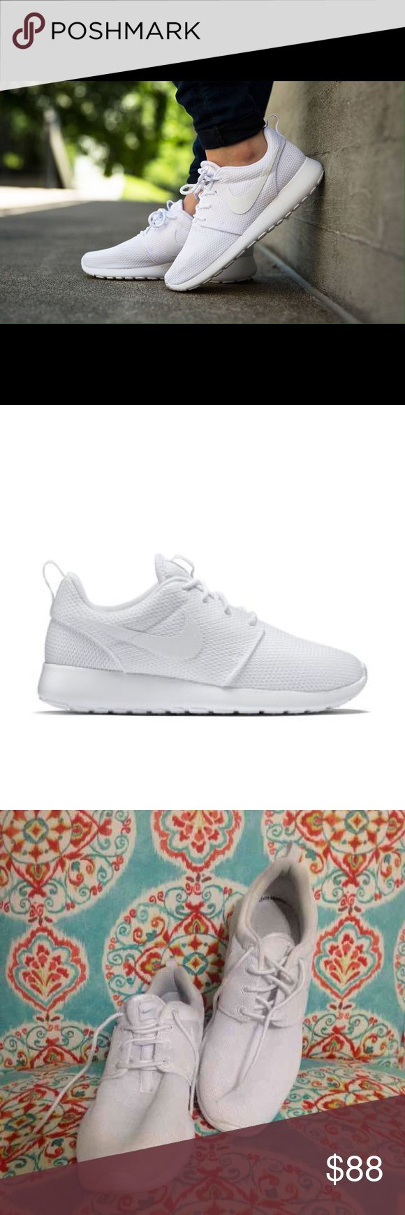 White Nike Roshe Runs Beautiful and clean all white Roshe Runs! Worn only once or twice and in great condition. The only signs of wear are the bottoms, which are a little dirty (as shown in picture). These are a women's size 9 and a men's size 7 1/2. Love these shoes, but I have too many and really never show these enough attention! Feel free to make me an offer! Nike Shoes Athletic Shoes
