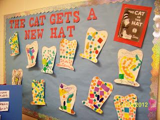 """Great ideas for Dr. Seuss activities...especially love the """"Cat Gets a New Hat"""" board. Would be great fun to have blank hats available and have kids decorate them and then display them."""
