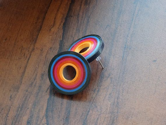 Multicolored Round quilling stud Earrings