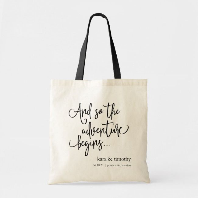 Wedding Welcome Tote Bag And So The Adventure Begins Personalized Totes