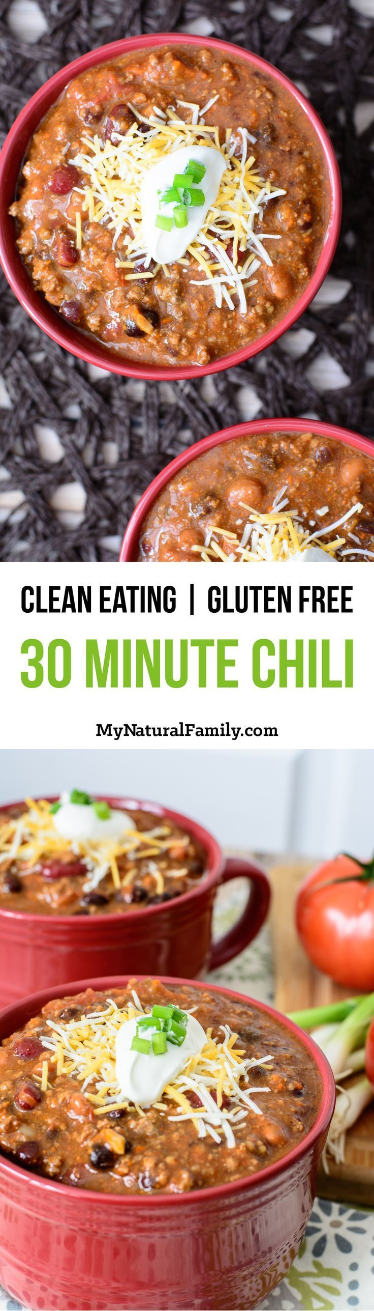 Super-Quick 30 Minute Chili Recipe {Gluten Free, Clean Eating} - I love how easy it is to throw this together. You literally just dump in a bunch of cans of food and add some seasoning. My kids love this chili, especially on navajo tacos.