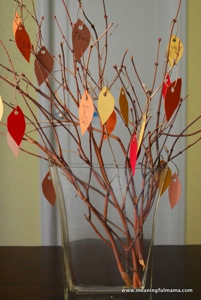 Thankfulness Tree - Leading up to Thanksgiving, people write on the paper leaves what they are thankful for and add it to the tree.