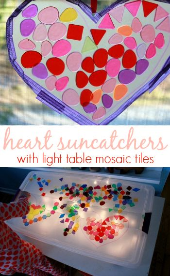 Make Heart Suncatchers with Translucent Mosaic Tiles -- An easy Valentine's Day activity for kids!