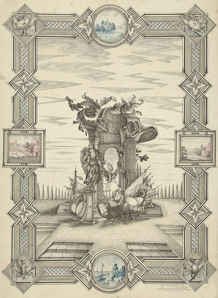 J.H. Schilling | Allegorie op de geboorte van de prins van Oranje, 1748, J.H. Schilling, 1748 | Allegorie op de geboorte van Willem V, de graaf van Buren, prins van Oranje, 8 maart 1748. In een tempel schrijft de Geschiedenis de geboorte van de prins in haar boek, het nieuws van de geboorte wordt haar gebracht door de Faam. Op een voetstuk staat de Vrede met een hoorn van overvloed. Het dak van de tempel is versierd met rocaillemotieven. Voorstelling in een omlijsting met kleine gekleurde…