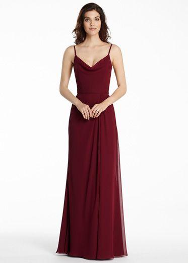 Burgundy+Chiffon+Spaghetti+Straps+Floor+Length+A+Line+Bridesmaid+Dress+B1jl0171