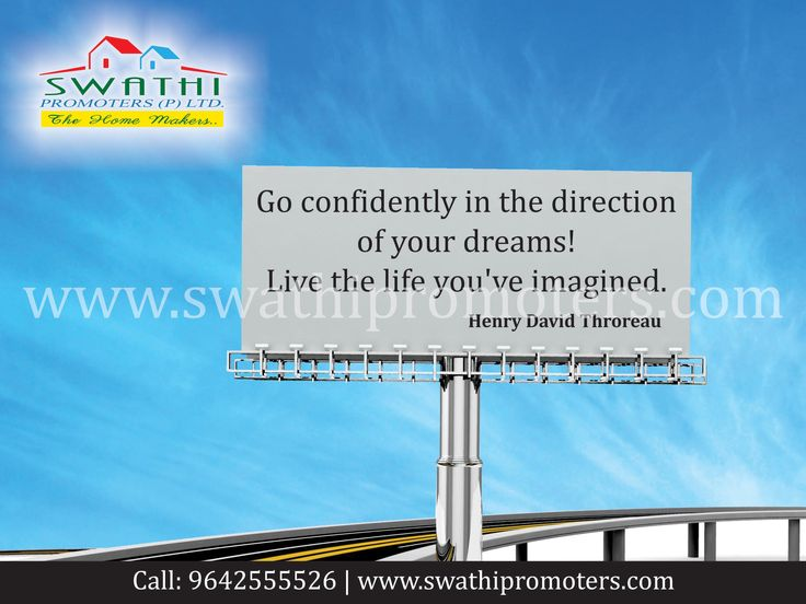 Go Confidently in the Direction of Your Dreams With Swathi Promoters Pvt.Ltd., Vizag. Website- http://www.swathipromoters.com Ph - 9642555526