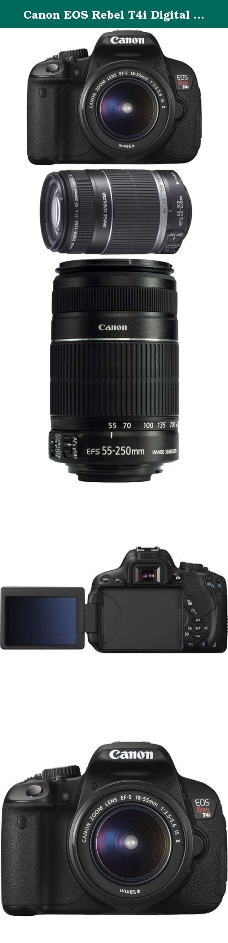 Canon EOS Rebel T4i Digital SLR Camera Body & EF-S 18-55mm IS II Lens with EF-S 55-250mm f/4.0-5.6 IS II Zoom Lens. Includes EF-S 18-55mm IS II Zoom Lens & EF-S 55-250mm f/4.0-5.6 IS II Zoom Lens 18.0 Megapixel CMOS (APS-C) sensor and DIGIC 5 Image Processor 3.0-inch Vari-angle Clear View Touch Screen LCD Enhanced EOS Full HD Movie Mode with Movie Servo AF Also features: 14-bit A/D Conversion; 5 FPS continuous shooting; ISO 100-12800 and expandable to 25600 in H mode; new Hybrid CMOS AF;...