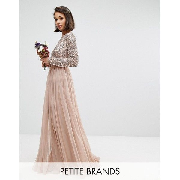 Maya Petite Long Sleeved Maxi Dress with Delicate Sequin and Tulle Skirt (£90) found on Polyvore featuring women's fashion, dresses, brown, petite, long sleeve prom dresses, cut-out maxi dresses, sequin prom dresses, petite cocktail dress and long sleeve cocktail dresses