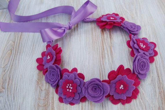 Flower Crown Hair Wreath Headband - Felt Flowers - Dark Pink Purple via Etsy
