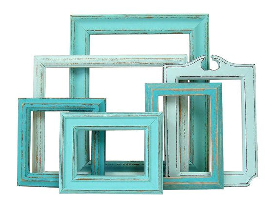 Shabby Chic Frame Set Turquoise Aqua Nursery Wedding Home Decor Rustic Beach Cottage Picture Frame on Etsy, $76.00