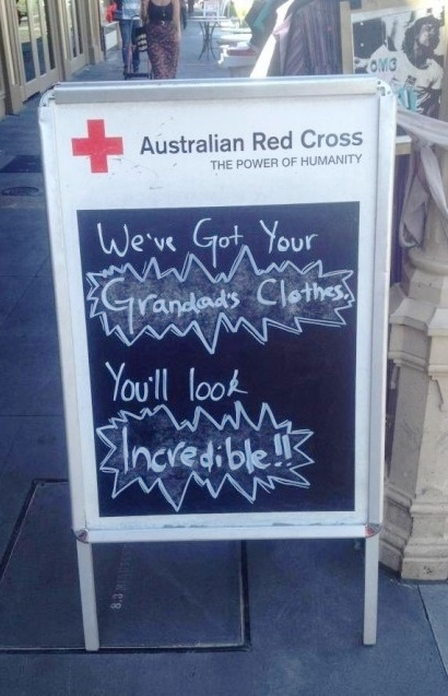 Check out this gem for the Australian Red Cross. It might be simple (it's literally a handwritten sign), but it references Macklemore & Ryan Lewis' hit song #ThriftShop which people can't seem to get enough of. #Advertising