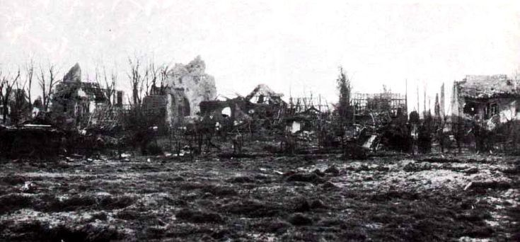 What was left of the town of Langemarck in October 1914 after the end of the First Battle of Ypres.