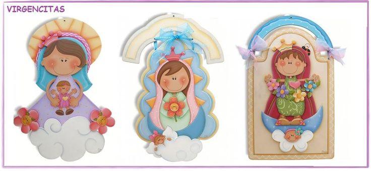 Virgencitas tridimencionales de madera para pintar