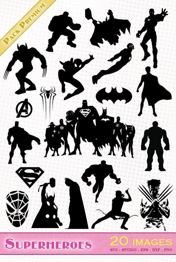 Superheroes Marvel Avengers 20 Images Png Svg Dxf Eps Studio Etsy Superhero Silhouette Batman Silhouette Silhouette Stencil