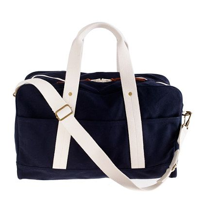 J.Crew - Rail and Wharf 48-hour duffel; 20-ounce high-density canvas and features a reinforced bottom, cotton webbing trim and handles and sturdy brass riveting