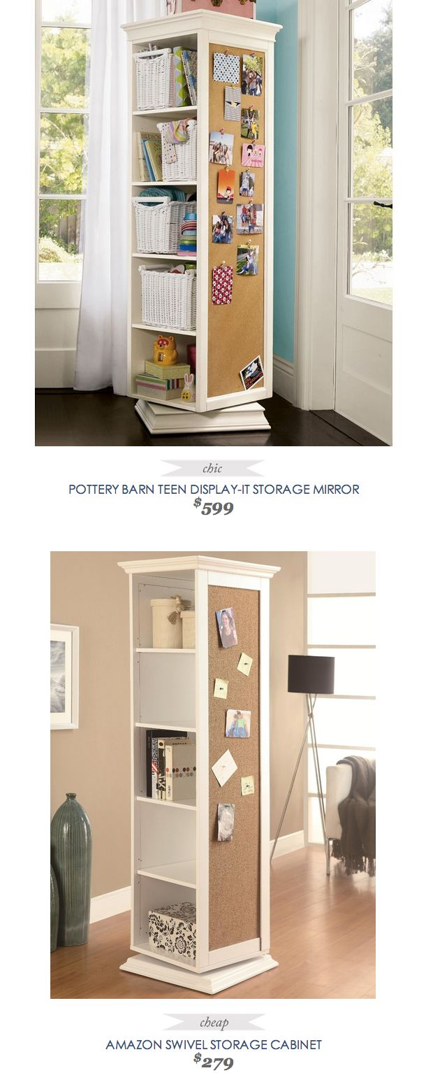 COPYCAT CHIC ~ Pottery Barn Teen Display-It Storage Mirror options ~ useful mirror for studio ~ PotteryBarnTeen #Display It #Storage #Mirror $599 - vs - #Amazon Swivel Storage #Cabinet $279