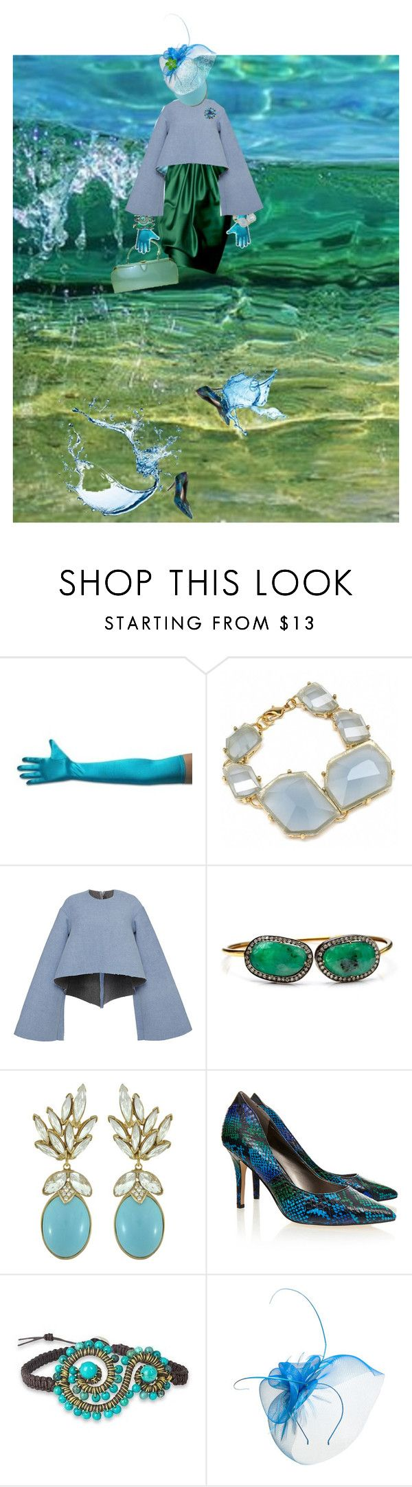 """""""A Walk in blue and green waters"""" by diannecollier ❤ liked on Polyvore featuring Zuhair Murad, Fantasy Jewelry Box, E L L E R Y, Nush, Ciner, Sam Edelman, NOVICA, Mascara and polyvoreeditorial"""