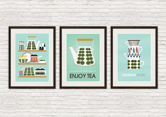 Kitchen print set, Stig Lindberg poster, mid century modern, Cathrineholm poster, kitchen poster,  kitchen decor, art for kitchen, wal art