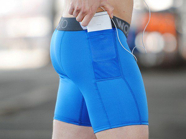 WOLACO's men's compression shorts, discovered by The Grommet, have two waterproof pockets. Keep keys, phone, cash, and ID secure and dry even on a sweaty run.