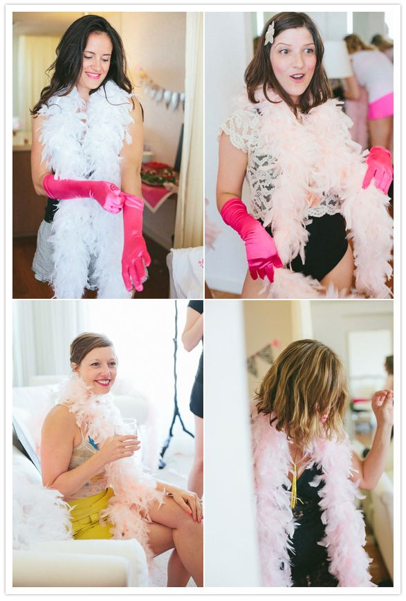love the bride in a feather boa! fun!!! bachelorette party!