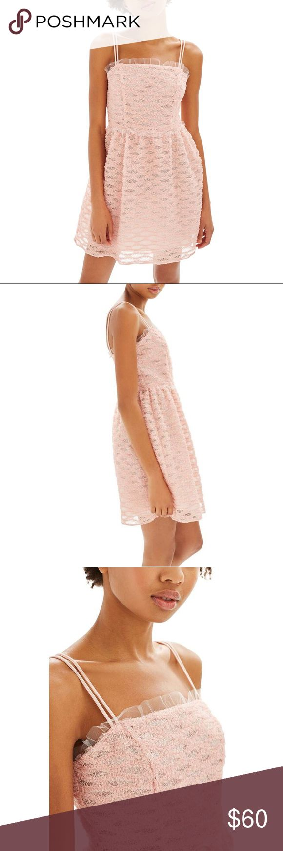 TOPSHOP Blush Pink Ruffle Tulle Trim Prom Dress New Without Tags! TOPSHOP Blush Pink Tulle Trim Mini Ruffle Prom Dress US Size 4  Retail $130.00 Master prom-perfection in this blush dress in trending tulle.  In a girlie silhouette, it comes with double strap detail and is finished in a mini length.  Pair with metallic heels for a head-turning result 100% Polyester.  Machine wash. Color: Blush Sold Out In All Stores And Online! Please Review All Photos Prior To Purchase All Sales Are Final…