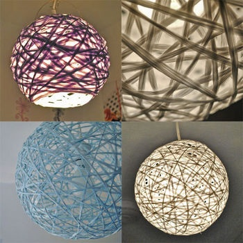 Although these are lamps, I saw how to make ornaments like this on Martha Stewart - string, balloons, glue and glitter!